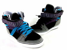 OSIRIS MEN'S RHYME REMIX SKATE SHOE BLK/CHAR/PURP LTHR US SZ LFT 8.5/RIGHT 7.5 M