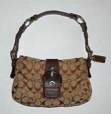 Coach Soho Signature C Khaki Jacquard Brown Leather Trim Hobo Purse 6171