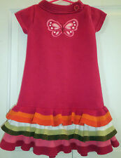 Gymboree 5 5T Dress Short Sleeve Butterfly Girl Cotton Pink Ruffles Pre-owned