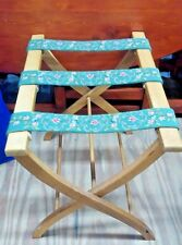 Vintage Wood Signed Folding LUGGAGE Suitcase RACK Stand with Tapestry Straps