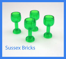 Lego - 4x Large Green Goblet Wine Glass City Castle Potter Hobbit Pirates Food