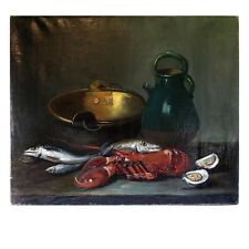 Superb Antique French Oil Painting, Still Life Fish, Lobster, Copper Pot c.1800s