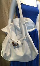 Authentic Large GUCCI White Leather Satchel Shopping Bag Overnight Bag
