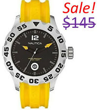 Nautica Men BFD 100 Stainless Steel Case Diver Sports Yellow Resin Band Watch