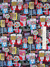 Timeless Treasures Fabric - Retro Gumball & Candy Machine Black Sweets /Yd