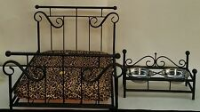 Custom Made Wrought Iron Dog/Cat Pet Bed & Feeder Combo