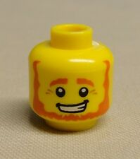 x1 NEW Lego Minifig Head Beard Brown Angular Bushy with White Pupils and Smirk
