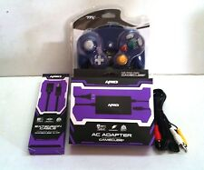 NEW PURPLE GAMECUBE GC CONTROLLER + AC ADAPTER + A/V CABLE + EXTENSION CABLE