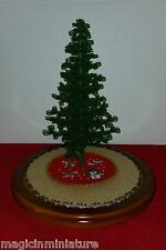 Westrim Beaded Mini Christmas Tree / Beige & red skirts, Ready to decorate!