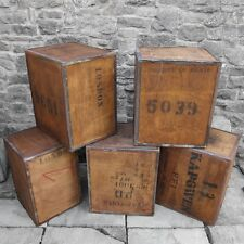 Old Tea Trunk Chest Box Storage Bedside Table Cabinet Window Display Wood Vintag