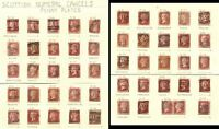 PENNY REDS SCOTLAND 75 stamps NUMERAL POSTMARKS
