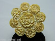 VTG Large Antique Ivory Colored Carved Celluloid Flower Pin Brooch