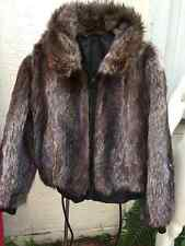MEN AUTHENTIC RACCOON FUR & LEATHER REVERSIBLE BOMBER JACKET COAT Sz.48