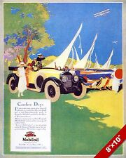 MOBILOIL MOBIL OIL CLASSIC AMERICAN MADE CAR PAINTING VINTAGE AD ART PRINT