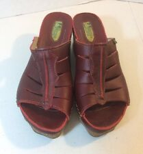 Women's EL NATURALISTA LILA Cork Wedge Red Leather Sandal Size 40 US 9