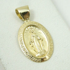 Solid 10K Yellow Gold Miraculous Medal Virgin Mary Pendant, 1.0 grams, Catholic