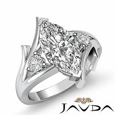 Marquise Cut Diamond 3 Stone Designer Engagement Ring GIA I SI1 Platinum 1.2 ct