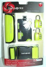 SAMSONITE 5 PIECE TRAVEL ACCESSORY SET TSA APPROVED GREEN