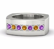925 Sterling Silver Natural Gem Stone Amethyst & Citrine Men's Ring Jewelry