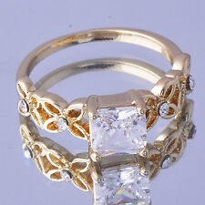 Novelty Yellow Gold Filled Womens Clear CZ Ring Size 7 fashion jewelry