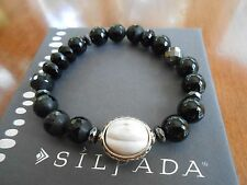 Silpada Sterling Silver & Blackboard Stretch Bracelet - B3169