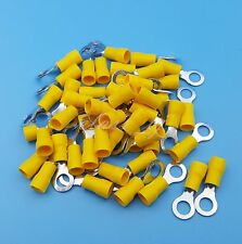 50Pcs Yellow RV5.5-6 Circular Pre-Insulating 12~10AWG Wire Crimp Terminals