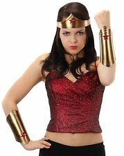 Female Super Hero Costume Kit Gold Wonder Woman Crown Tiara Wrist Cuffs Red Star