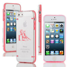 For iPhone SE 5 5s 6 6s 7 Plus Clear Hard TPU Case Cover Barrel Racing Cowgirl