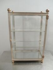 Vintage Antique Metal and Brass Table Top Glass Display Cabinet