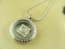 I LOVE MY SOLDIER MILITARY ARMY CHARM LOCKET W/ Stainless Steel Necklace