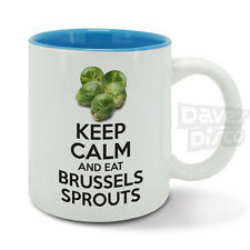 KEEP Calm and eat BRUSSELS SPROUTS mug cup, funny birthday gift, vintage design