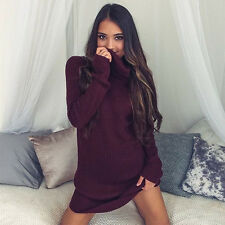Womens Winter Warm Long Sleeve Pullover  Sweater Jumper Tops Knitted Mini Dress
