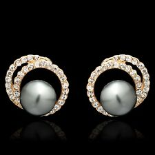 Elegant Gift for Women Girls Gold Plated Gray Pearl Stud Earring PM0304