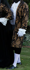 MEN RENAISSANCE BLACK BLACK BROCADE CHENILLE REGAL PIRATE VAMPIRE JACKET COAT