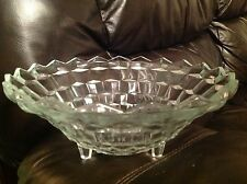 Indiana Glass Whitehall Clear Large Fruit/Salad Bowl Tri-footed ~ Beautiful!~