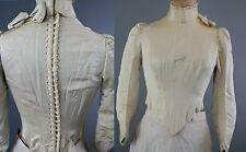 Antique Victorian lace up bridal bodice beaded ivory white corset back gothic