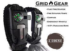 Paracord Survival Bracelet /Flint/Fire Starter/Whistle Camping Gear/Kit - ANY 2