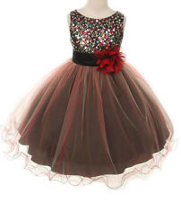 Multi-Sequin Trio Color Tulle Flower Girl Dress Beaded Wedding Pageant Brides