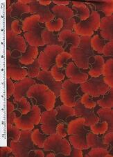 Fat Quarter Ginkgo Tonal Leaves Scarlet Red Cotton Quilting Fabric - Kona Bay