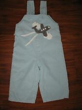 Coco Bon Bon light blue corduroy airplane appliqué boutique overalls pants 6 12