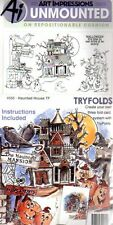 New ART IMPRESSIONS RUBBER STAMP TryFolds 5 Set haunted house halloween