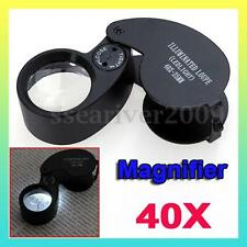 New 40X 25mm Power Jeweler LEDEye Loupe Magnifier Magnifying Glass Lighted Loupe