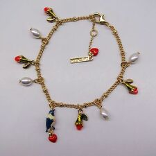 ELEGANT ENAMEL LOOK BIRD WHITE PEARLS CHARMS LES NEREIDES BRACELET - NEW