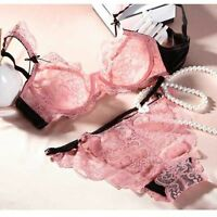 Pink Lace Women's Sexy Classy Bra And Knickers Briefs Set Underwear / Lingerie