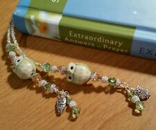 HANDMADE GREEN PORCELAIN OWL BEADED THONG BOOKMARK WITH SWAROVSKI CRYSTALS