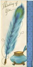 VINTAGE BLUE TEAL PEACOCK FEATHER QUILL PEN INKWELL POLKA DOTS DECO CARD PRINT