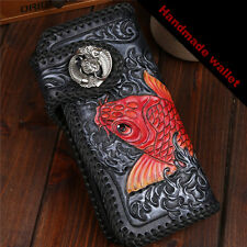 Carving Leather for mens Wallet man Purse Koi Fish Vintage Handmade