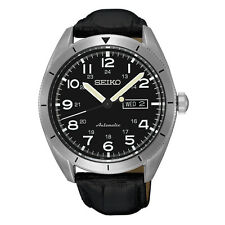 New Seiko Automatic Day Date Black Leather Strap Men's Watch SRP715