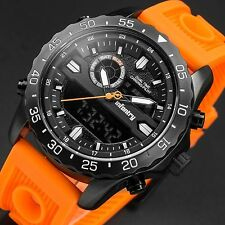 INFANTRY Mens Digital Quartz Wrist Watch Stopwatch Orange Rubber Military Sport