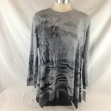 NWT Jess and Jane Forrest Tunic Long Sleeve Top Gray Black Rhine Stones 2X